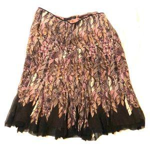 Vintage Elie Tahari Peacock Silk Skirt